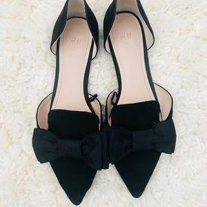 H&M Black Bow Ballet Flats size 6